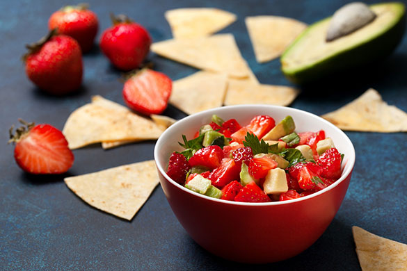 bowl of strawberry avocado salsa