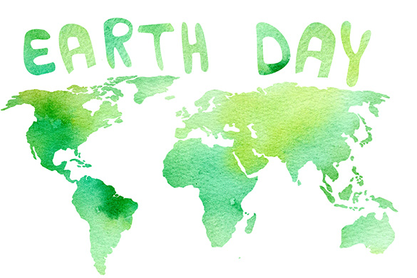 watercolor illustration of globe and earth day